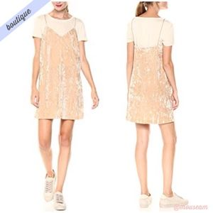 [Kensie] Beige Crushed Velvet Two-fer Dress